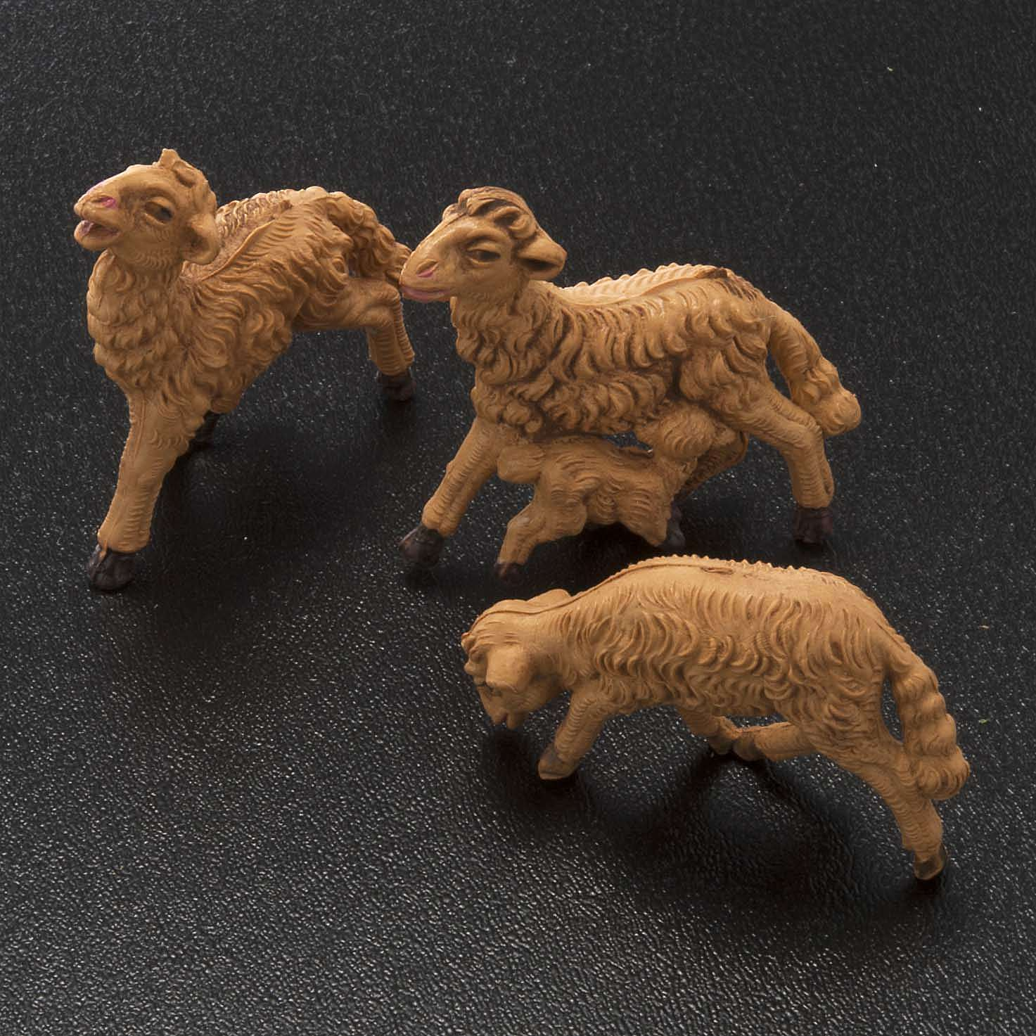Nativity scene figurines, brown sheep 10 pieces 8 cm 3