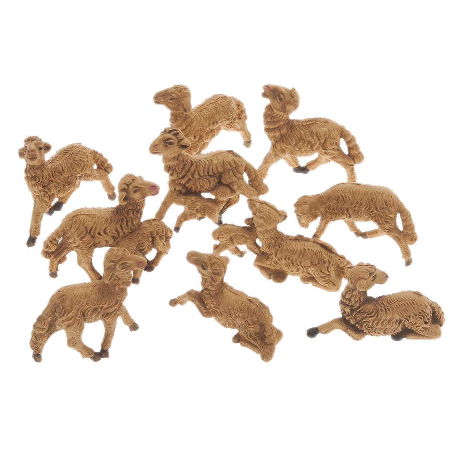 Pecore presepe plastica marrone 10 pz. 8 cm 3