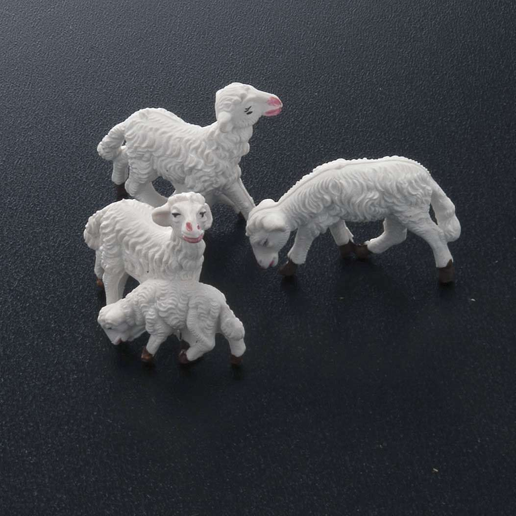 Nativity scene figurines, white sheep 10 pieces 8 cm 3