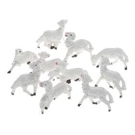 Nativity scene figurines, white sheep 10 pieces 8 cm s1