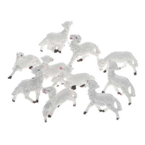 Nativity scene figurines, white sheep 10 pieces 8 cm 1