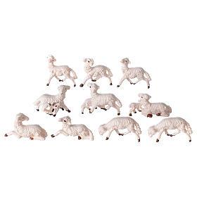 Pecore presepe plastica bianca 10 pz. 8 cm s2