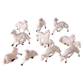 Pecore presepe plastica bianca 10 pz. 8 cm s3