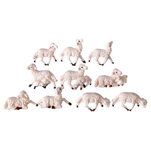Pecore presepe plastica bianca 10 pz. 8 cm 1