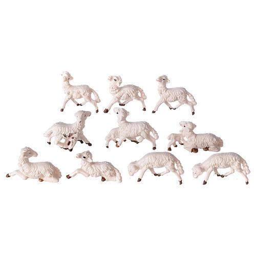 Pecore presepe plastica bianca 10 pz. 8 cm 2