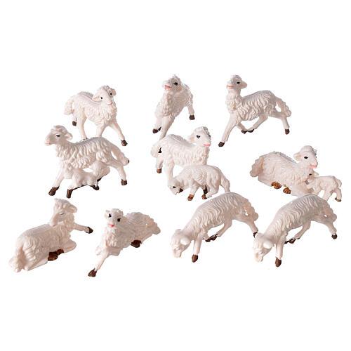 Pecore presepe plastica bianca 10 pz. 8 cm 3