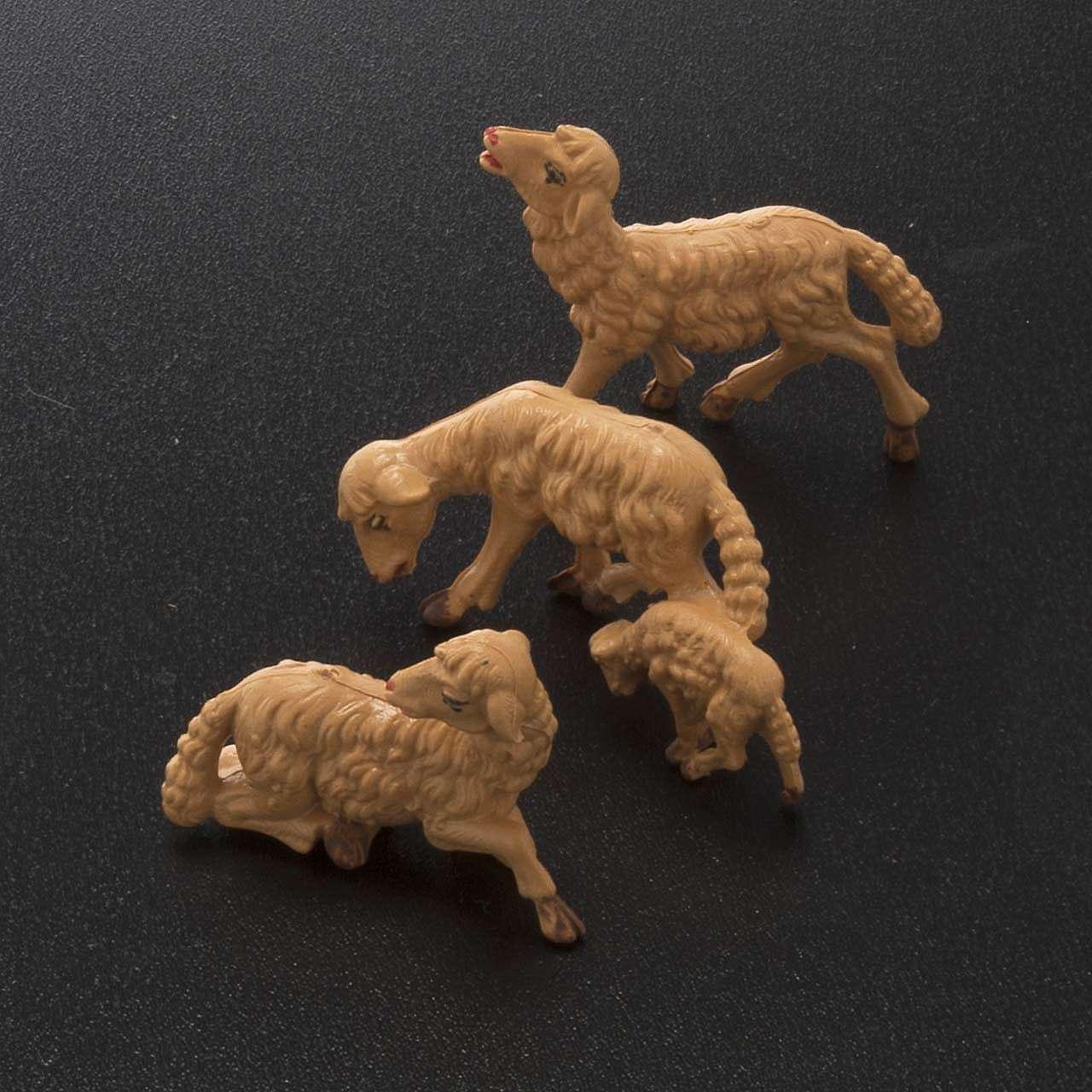 Pecore presepe plastica marrone 10 pz. 10 cm 3