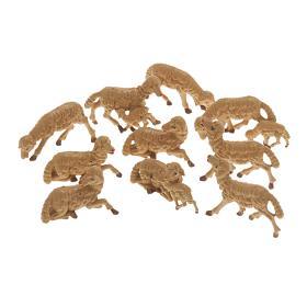 Pecore presepe plastica marrone 10 pz. 10 cm s1