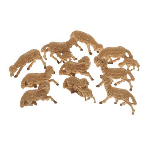 Pecore presepe plastica marrone 10 pz. 10 cm 1