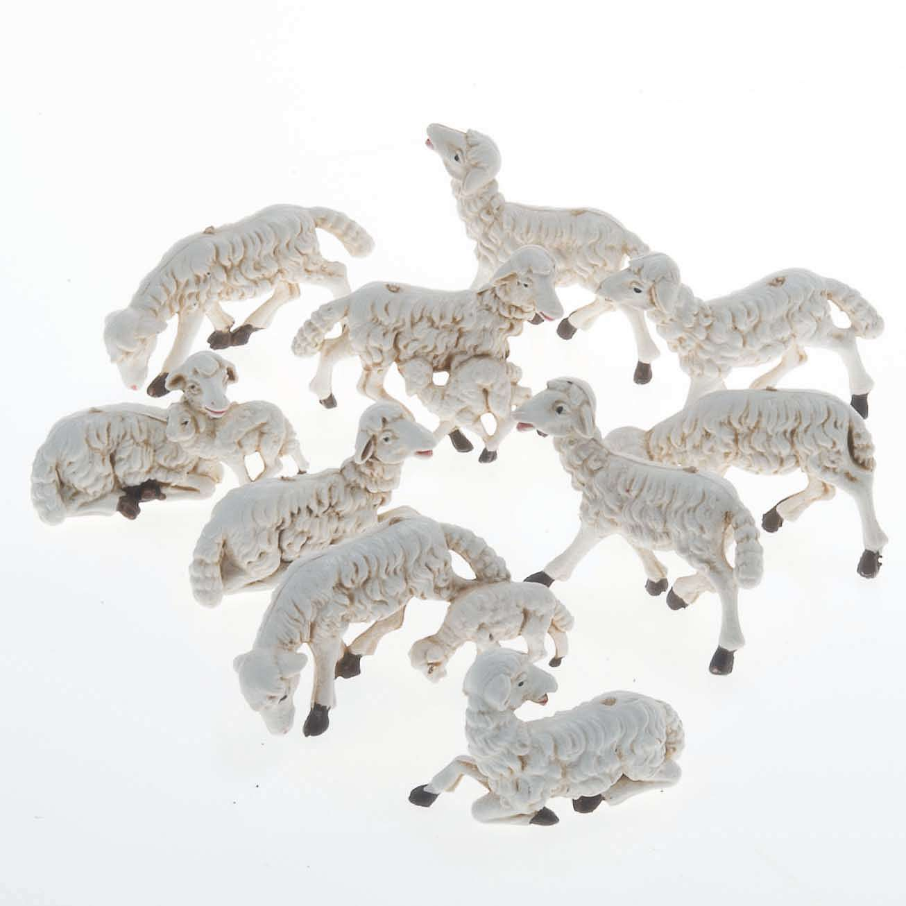 Pecore presepi plastica assortite 10 pz. 10 cm 3