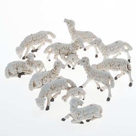 Pecore presepi plastica assortite 10 pz. 10 cm s1