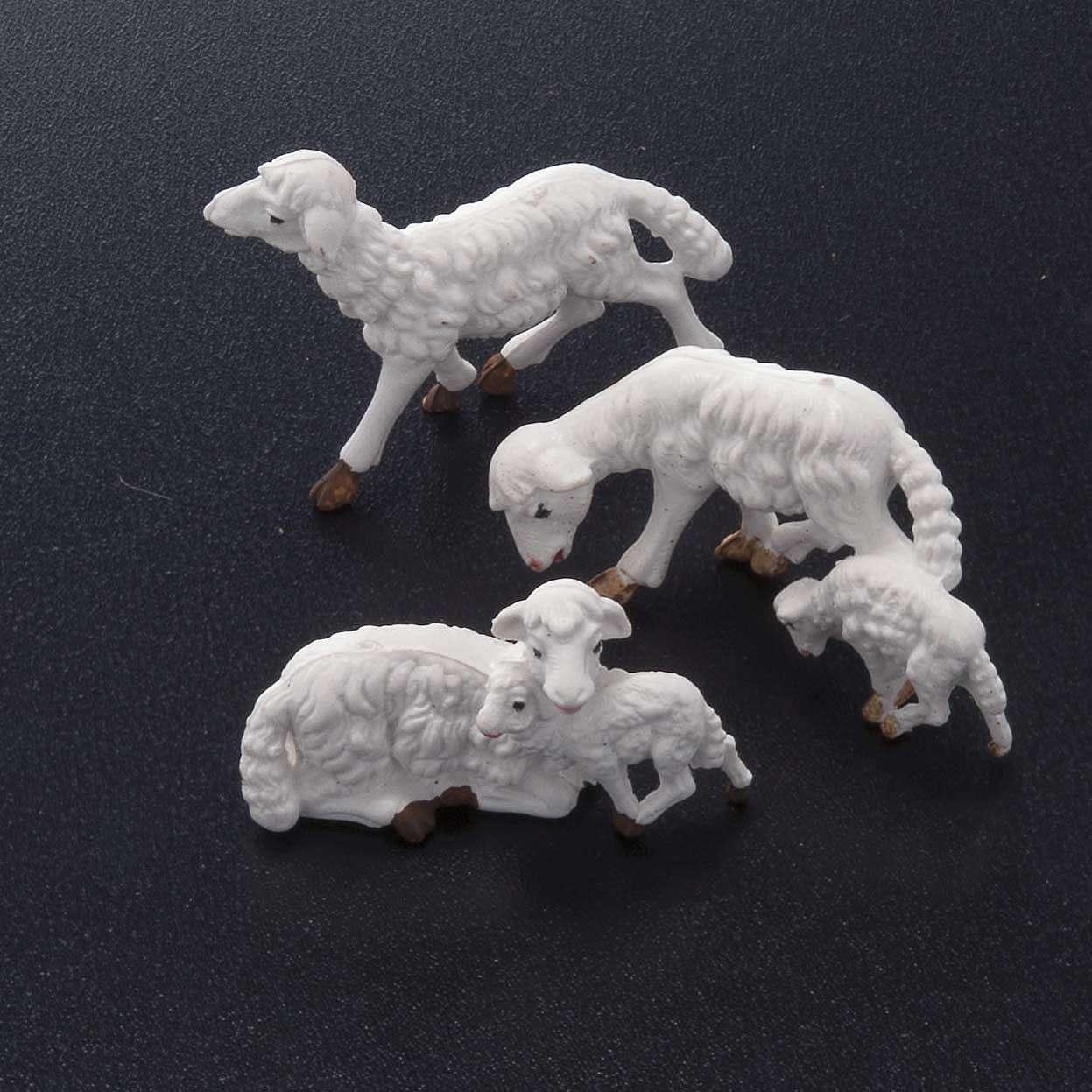 Pecore presepe plastica bianca 10 pz. 10 cm 3