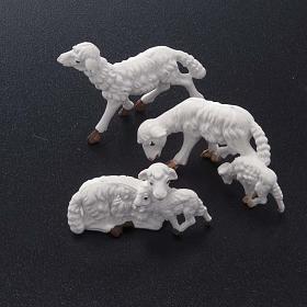 Pecore presepe plastica bianca 10 pz. 10 cm s2