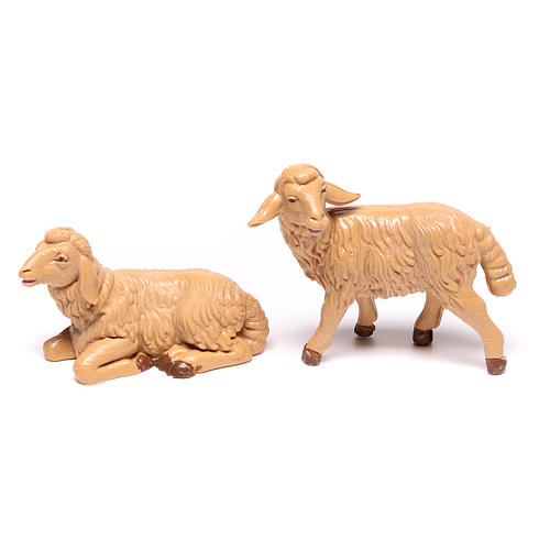 Nativity scene figurines, brown plastic sheep, 4 pieces 12cm 2