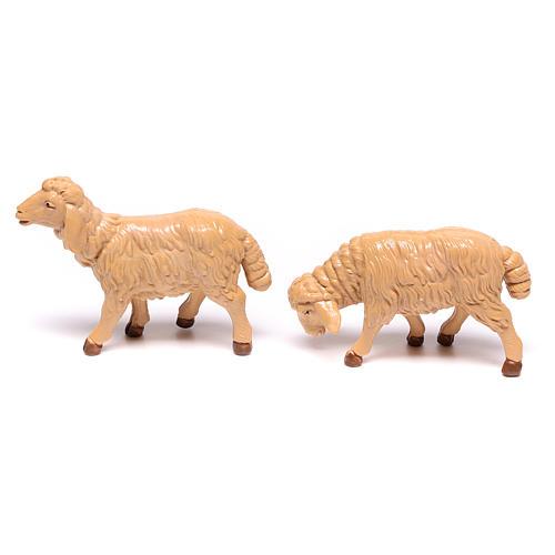 Nativity scene figurines, brown plastic sheep, 4 pieces 12cm 3