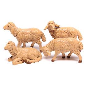 Animaux pour la crèche: Moutons plastique marron crèche12 cm, 4 pc