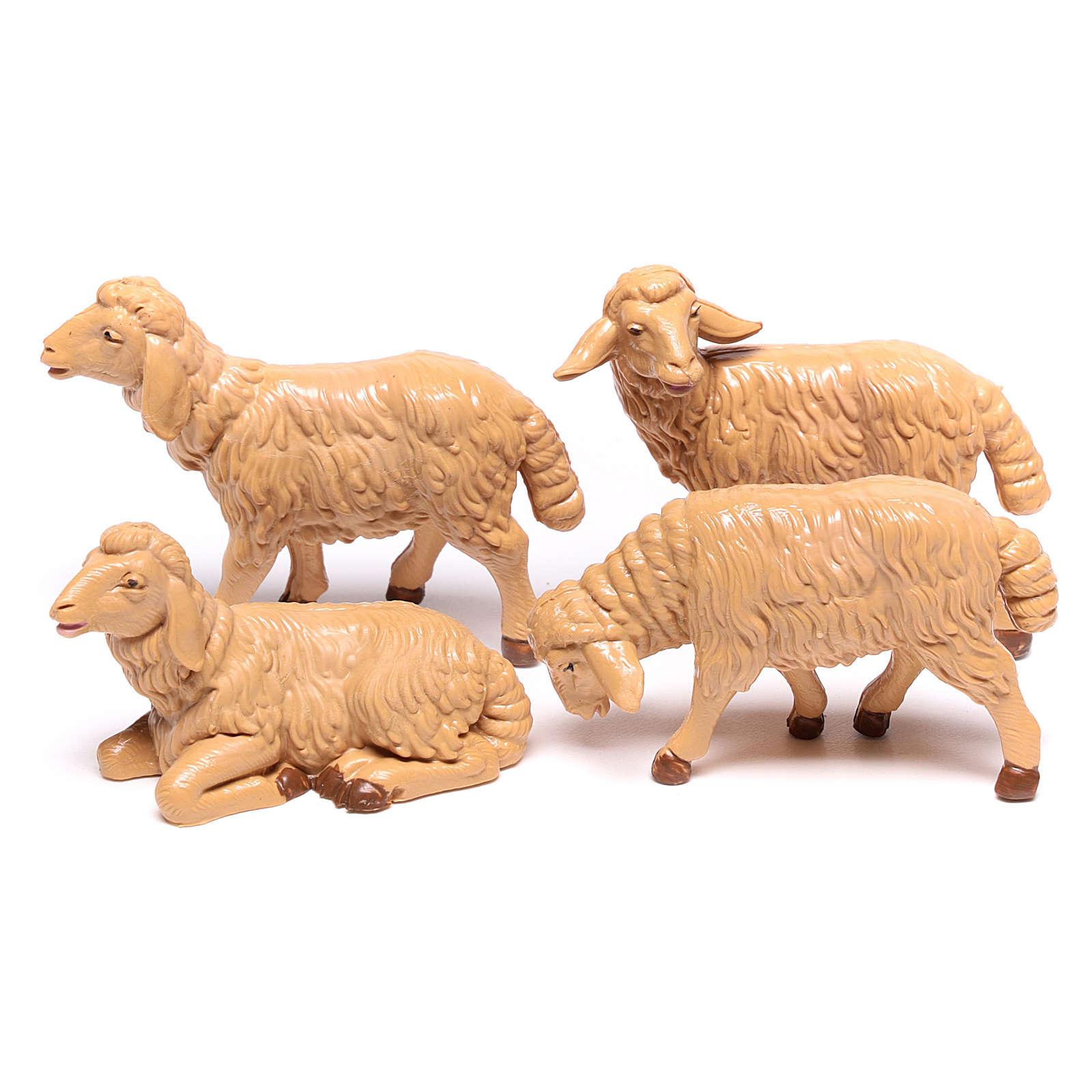 Pecore presepe plastica marrone 4 pz. 12 cm 3