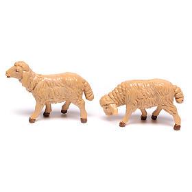 Pecore presepe plastica marrone 4 pz. 12 cm s3