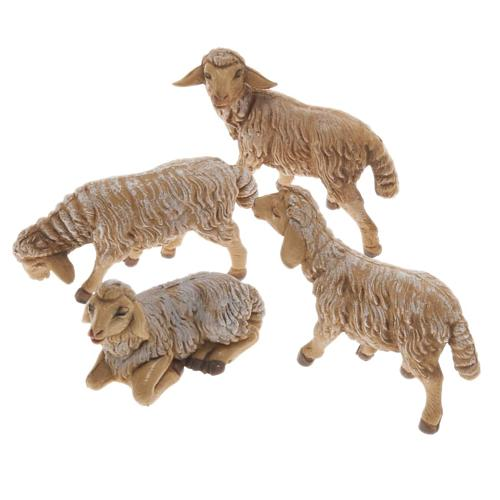 Pecore presepe plastica marrone 4 pz. 12 cm 1