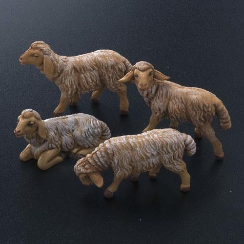 Pecore presepe plastica marrone 4 pz. 12 cm 2