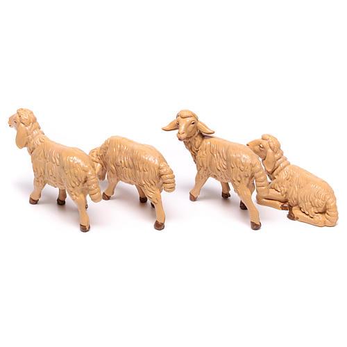 Pecore presepe plastica marrone 4 pz. 12 cm 4