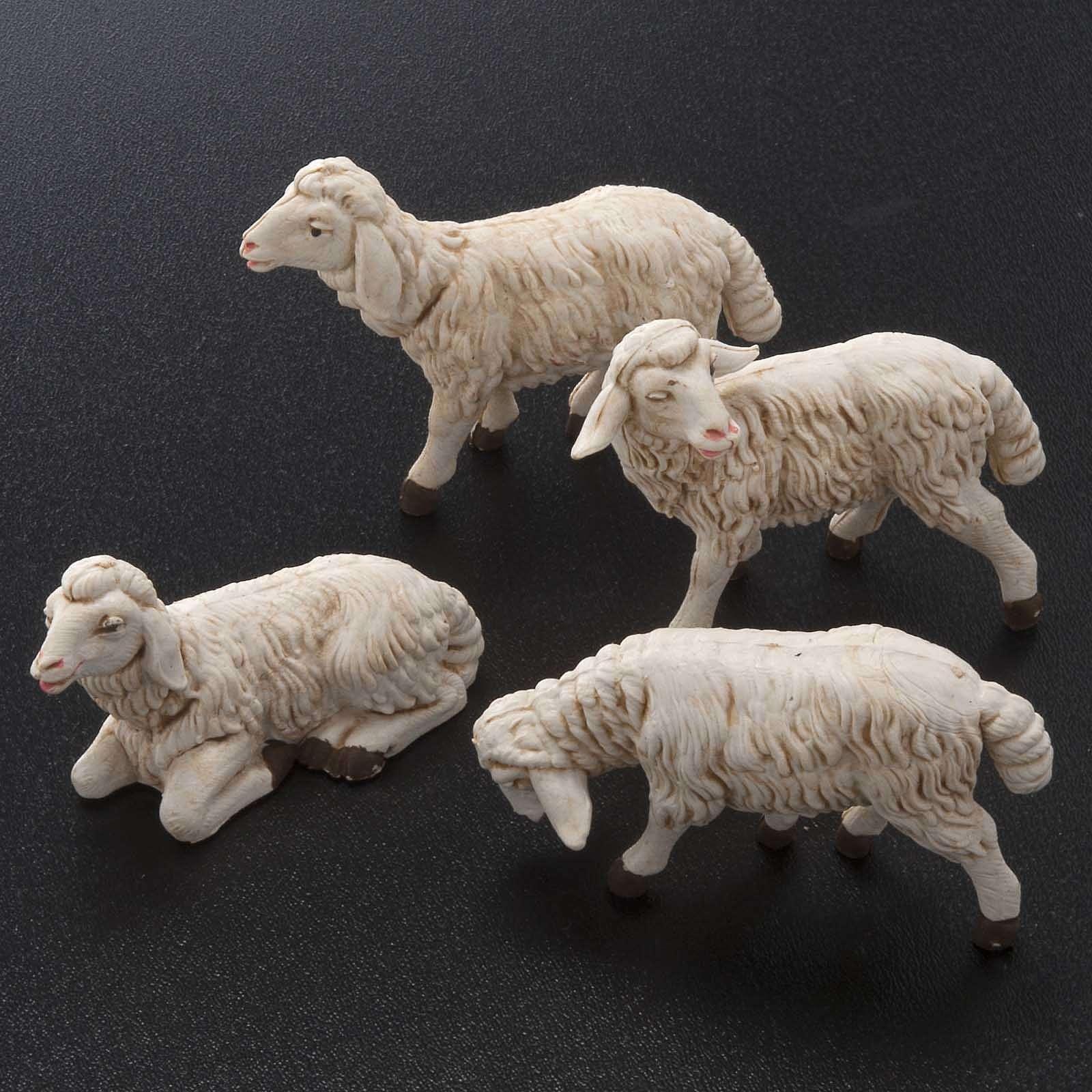 Moutons plastique assortis crèche 12 cm, 4 pc 3
