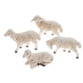 Moutons plastique assortis crèche 12 cm, 4 pc s1