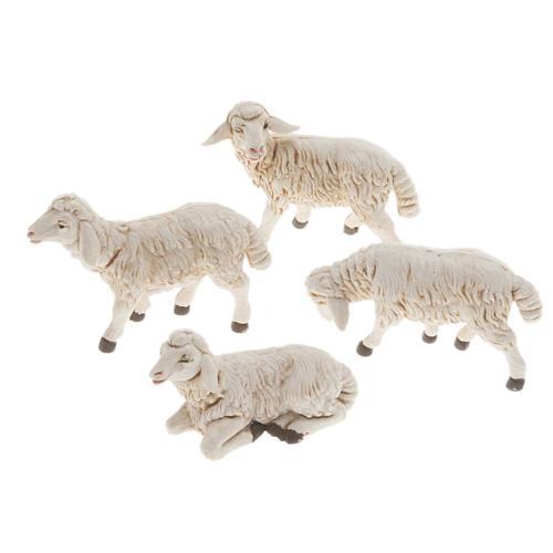 Moutons plastique assortis crèche 12 cm, 4 pc 1