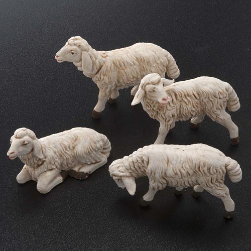 Pecore presepi plastica assortite 4 pz. 12 cm 2
