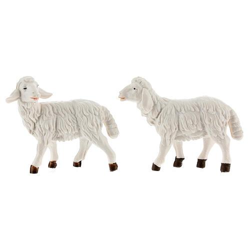 Nativity scene figurines, white plastic sheep, 4 pieces 12cm 2