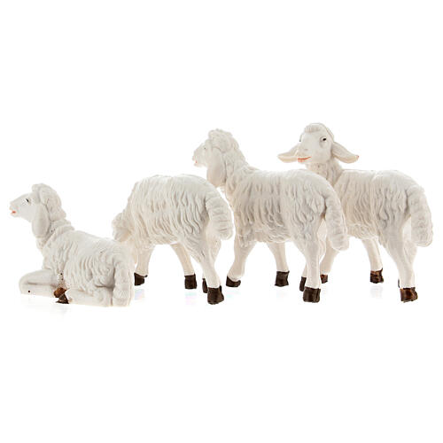 Nativity scene figurines, white plastic sheep, 4 pieces 12cm 4