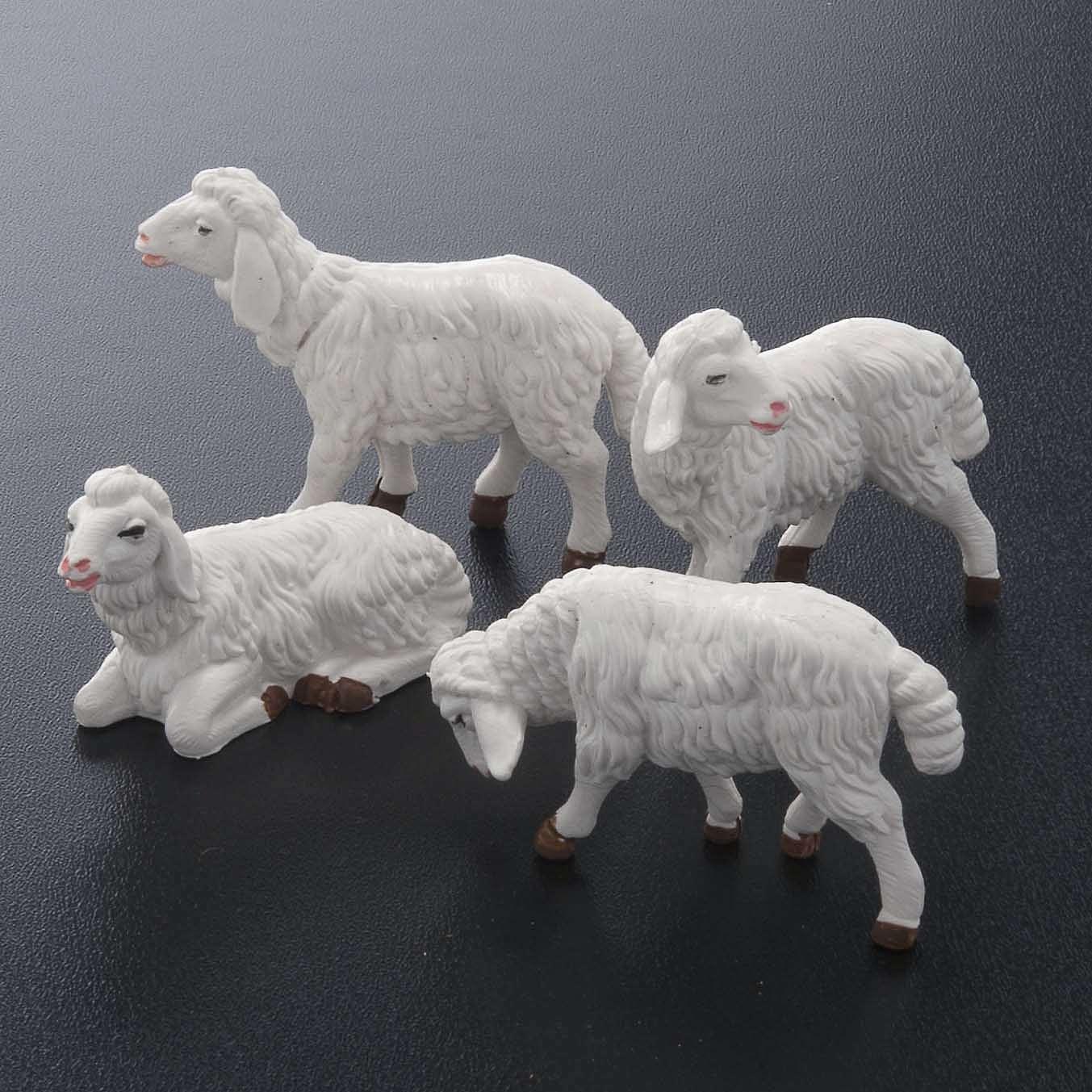 Pecore presepe plastica bianca 4 pz. 12 cm 3