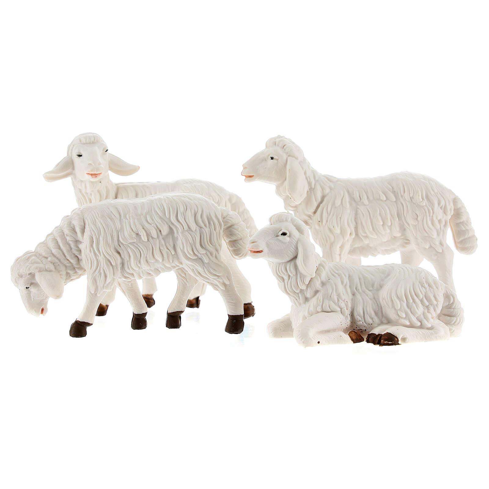 Pecore presepe plastica bianca 4 pz. presepe altezza media 12 cm 3
