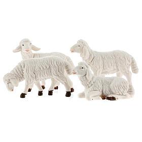Pecore presepe plastica bianca 4 pz. presepe altezza media 12 cm s1