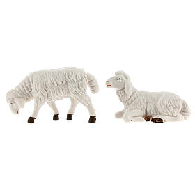Pecore presepe plastica bianca 4 pz. presepe altezza media 12 cm s3