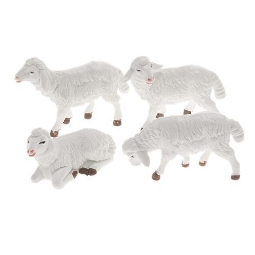 Pecore presepe plastica bianca 4 pz. 12 cm 1