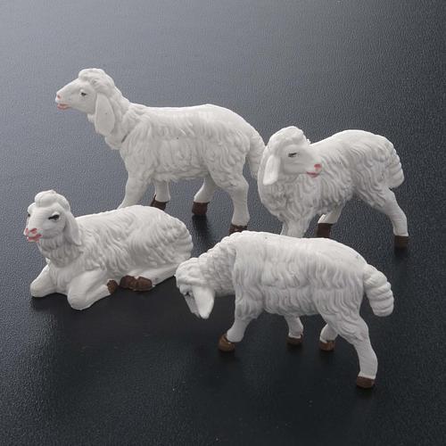 Pecore presepe plastica bianca 4 pz. 12 cm 2