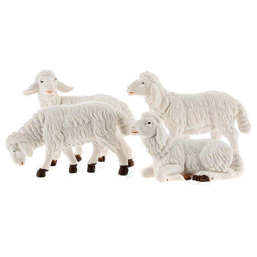 Pecore presepe plastica bianca 4 pz. presepe altezza media 12 cm 1