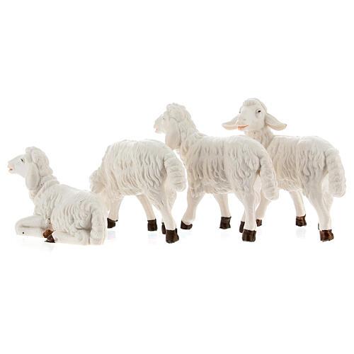 Pecore presepe plastica bianca 4 pz. presepe altezza media 12 cm 4