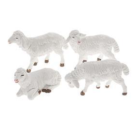 Zwierzęta do szopki: Owce szopka plastik biały 4 szt 12 cm