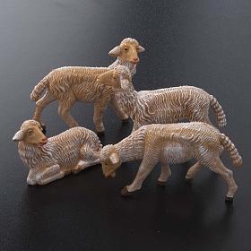 Pecore presepe plastica marrone 4 pz. per presepe di altezza media 16 cm s2