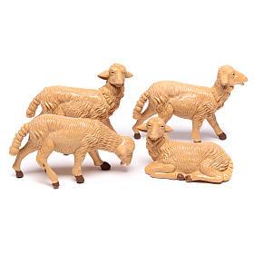 Pecore presepe plastica marrone 4 pz. per presepe di altezza media 16 cm s1