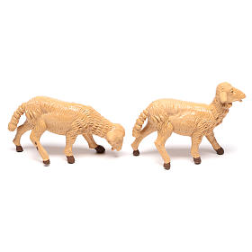 Pecore presepe plastica marrone 4 pz. per presepe di altezza media 16 cm s3