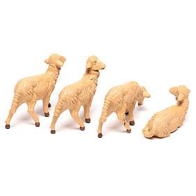 Pecore presepe plastica marrone 4 pz. per presepe di altezza media 16 cm s4