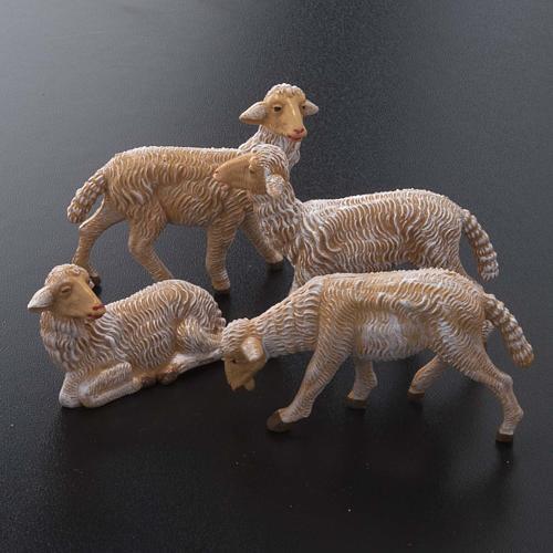 Pecore presepe plastica marrone 4 pz. per presepe di altezza media 16 cm 2