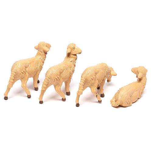 Pecore presepe plastica marrone 4 pz. per presepe di altezza media 16 cm 4