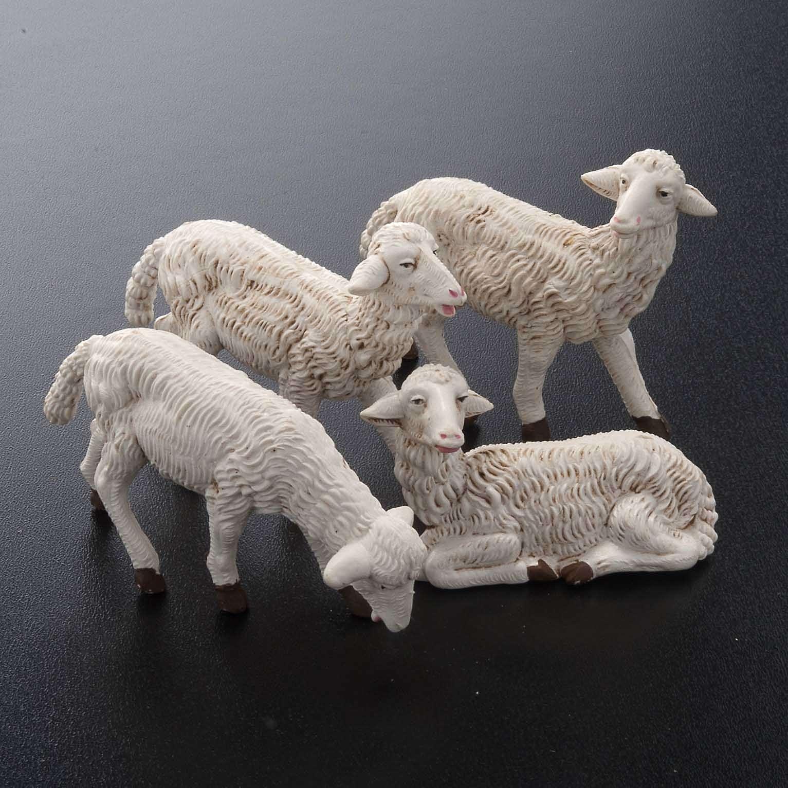Ovejas plástico modelos surtidos 4 pz. para Belén de altura media 16 cm 3