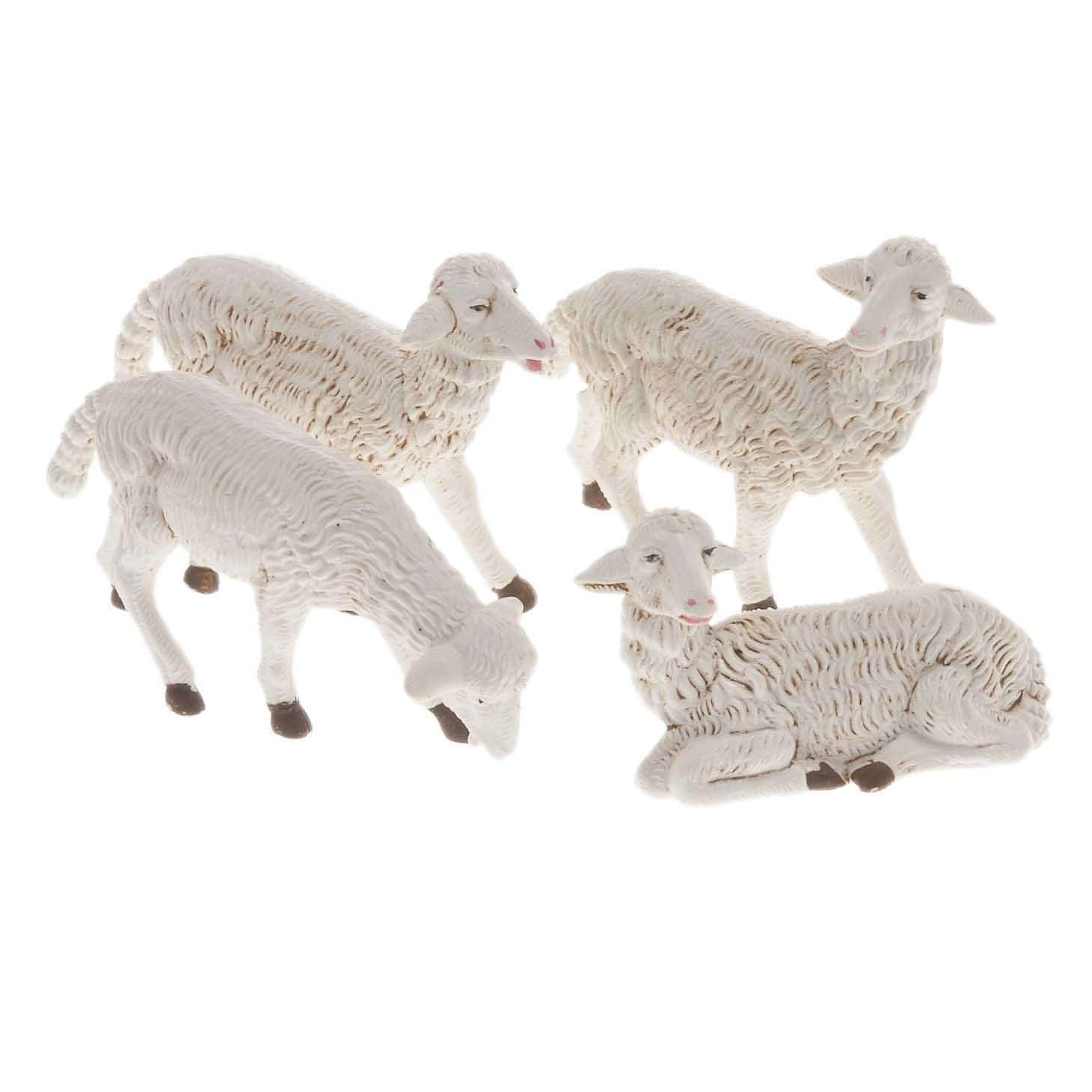 Pecore presepi plastica assortite 4 pz. per presepe di altezza media 16 cm 3