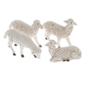 Pecore presepi plastica assortite 4 pz. per presepe di altezza media 16 cm s1