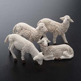 Pecore presepi plastica assortite 4 pz. per presepe di altezza media 16 cm s2